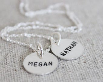 """two kids names necklace, mom with two kids, 2 names necklace, name tag jewelry, custom name jewelry, name discs, 1/2"""""""