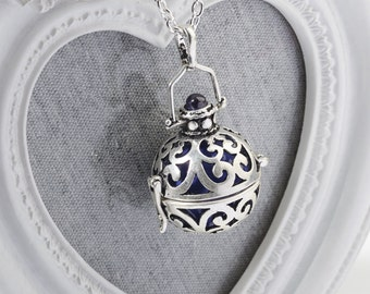 Harmony Cage ISABELLE with Purple Bola Ball Pendant & Necklace - Pregnancy Maternity Necklace Mum to Be Gift