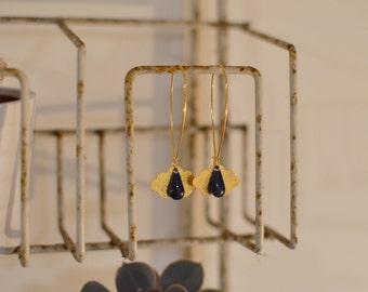 Golden cloud earrings enameled rain drops