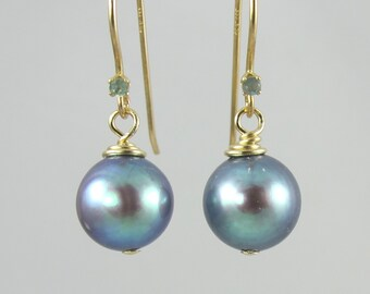 OOAK 14k gold color change alexandrite and freshwater pearl earrings FREE SHIP