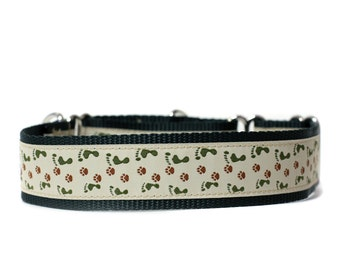 Wide 1 1/2 inch Adjustable Buckle or Martingale Dog Collar in Side by Side