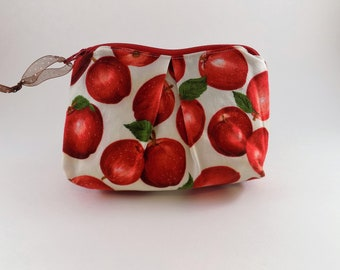 Apple a Day Print Zip Bag, Cosmetic Bag, Travel Bag, Zippered Makeup Bag, Snack Bag, Pencil Bag, Fabric Zip Bag