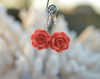 Coral Rose Dangle Earrings, Coral Rose Flower Necklace, Coral Rose Bridesmaid Necklace, Coral Wedding Jewelry