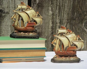 Clipper Ship Bookend Pair, Vintage Painted Brass Nautical Sailing Ship Figurals