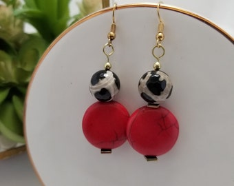 Red earrings. Coral earrings. Red and leopard earrings. Cheetah print earrings. Red and Gold earrings. Red and Black Statement. Matching Set