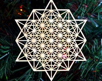 64 Tetrahedron Grid Holiday Ornament - Laser Cut Wood Wooden Sacred Geometry Symbol Conscious Christmas Xmas Decoration