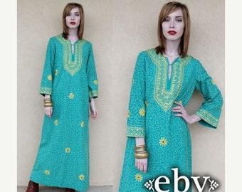 Vintage Hippie Dress Hippy Dress Festival Dress Vintage 70s Hippie Caftan Maxi Dress S M Vintage Dashiki