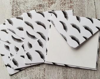 Mini Envelopes // Set of 4 // Eyelash Envelopes // 3x3 Envelopes // Thank You Cards // Just a Note