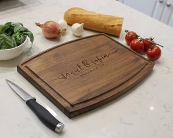 Personalized Cutting Board, Custom Cutting Board, Engraved Cutting Board, Monogram Cutting Board, Custom Wedding Gift --CBA-WAL-DANIELSOFIA