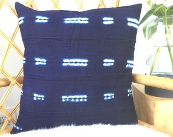 """Amazing African Mudcloth Hand Stitched White & Black or Shibori Indigo Pillow Cover - 16""""x16"""" - 20""""x20"""" - 25""""x25"""" - 16""""x26"""" - also available"""