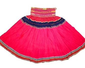 Ethnic Vintage Tribal Traditional Classic Kuchi Banjara Skirt Mirror Work Gypsy Belly Dancer Dance India Gujrati Rajasthan Hippie Boho ATS