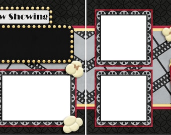 Now Showing Movie Night - Digital Scrapbook Quick Pages - INSTANT DOWNLOAD