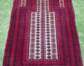 Antique Afghan Dokhter-e-ghazi Prayer Rug 5 x 3