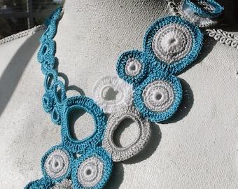 Sea Blue Bubbles Crochet Necklace