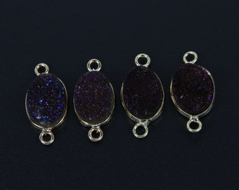 Wholesale Mystic Titanium Dark Purple Blue Druzy Quartz Agate Oval Shaped Beads Pendant with Gold Plated Edged Necklace Finding Jewelry