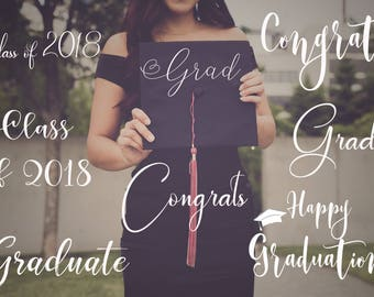 20 PNG  Photo Overlays, Word Overlay, Graduation Announcement, Class of 2018, Senior Graduation, Photoshop overlays - INSTANT DOWNLOAD