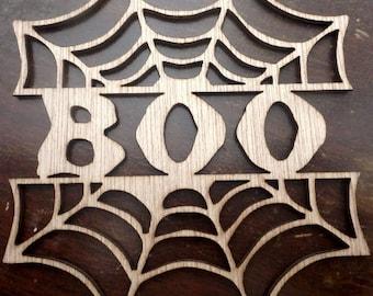 Boo web/ custom cutout (Large ) Wood Cut Out -  Laser Cut