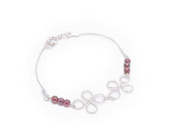 Lotus Garnet Bracelet