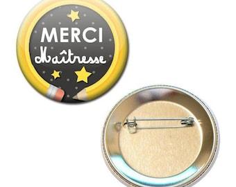 Badge 56 mm - thank you teacher pencil school gift
