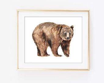 Grizzly Bear Watercolor Art Poster Print North American Hunting Wall Brown Decor Rustic Cabin W61
