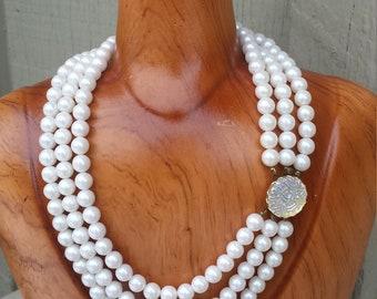 Opalescent White Pearl Necklace Glass Multi Triple 3 Strand Bride Bridal Classic Wedding Vintage Estate Jewelry Jewellery