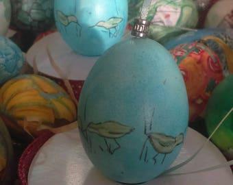 Accents Home Decor, Vintage Ornament Hen Egg Set Sandpiper Design