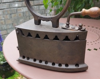 Antique French Iron with Wood Handle - Antique French Laundry Iron, Box Iron, Charcoal Iron with Wood Handle
