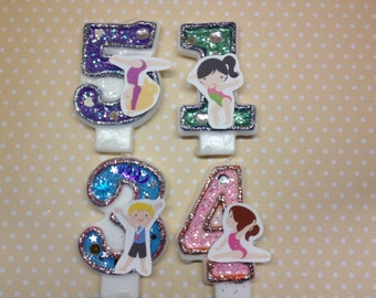 Gymnastics Birthday Party Number Candle
