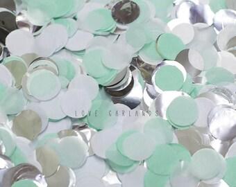 Mint White Silver Round Confetti, Mint White Silver Confetti, Mint Wedding Confetti, Mint Bridal Shower Confetti, Mint Balloon Confetti