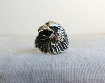 Vintage Sterling Silver Bird ring  / Silver Eagle Ring size 10 / Eagle head ring / American eagle / Hawk / Men's Ring Statement Ring