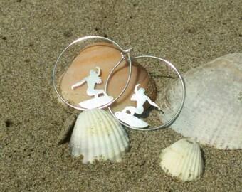 Surf earrings, surfer girls gift, Surfing jewelry, Surfer style, silver surfboard, gift for surfer women
