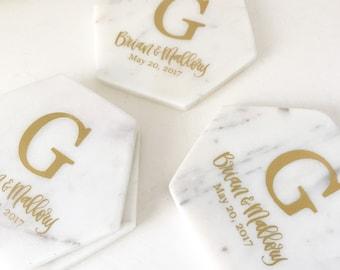 White Marble Coasters | Personalized Marble Coasters | Monogram Coasters | Drink Coasters - Housewarming Gift - Wedding Gift