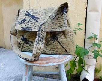 Lichen Green Medium Messenger Bag - Dragonflies - Adjustable Strap - Pockets - Key Fob