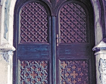 Doors photography architecture print large wall decor fine home decor old wood double purple doors picture Italy travel photography fine art
