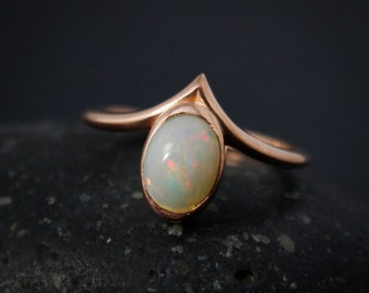 Natural Solid Opal Point Ring, Oval Opal Ring, October Opal, Statement Ring