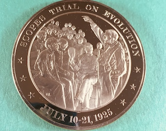 Franklin Mint Medal History of United States Scopes Trial on Evolution, 1925  44mm Bronze Mint Cond<>#PSY-21