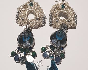 Feather and blue tassels and silver hook earrings