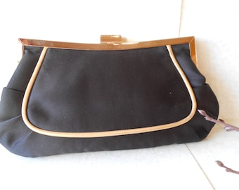 Black Evening Bag, Vintage Purse, Black and Gold, Black Clutch Bag, Clutch Handbag, Classic Style EB-0125