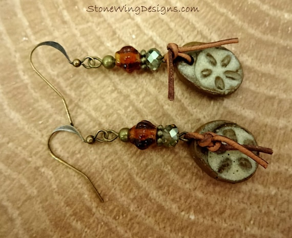 Rustic Boho Artisan Ceramic, Leather and Antique Brass Earrings
