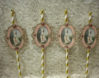 Shabby Chic Cup Cake Toppers / Party Decorations Marie Antoinette (8)