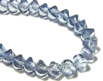 BLue Mystic Quartz Faceted Twist Rondelles   2