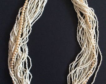 White multi-strand seedbead necklace [SKU193]