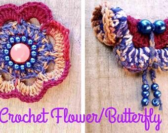 CROCHET Flower/Butterfly PDF Pattern, comes with Free Video, Crochet Flower/Butterfly for baby/toddler/girl/lady. Crochet Flower/Butterfly