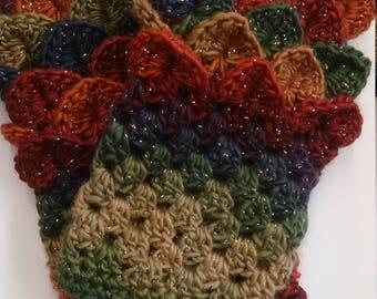 Dragon scale fingerless gloves, sparkle yarn, crochet crocodile stitch