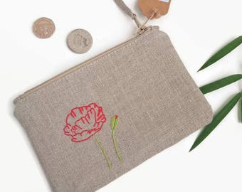 Embroidered Poppy Purse | Poppy Themed Gift, Handmade Poppy Gift, Ethical Gift for Mum, Natural Linen Purse, Handmade Wild Flower Gift