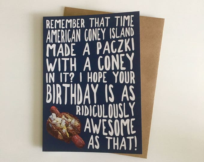 Detroit Coney Paczki Birthday Card