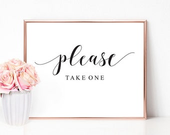 Please Take One Sign | Wedding Sign, Favors Sign, Please Take One, Wedding Favors Sign, Printable Signs, Wedding Signage, Wedding Signs, PDF