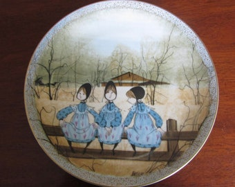 P Buckley Moss Autographed Waiting For Tom Plate 1760