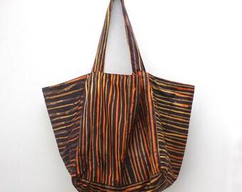 Würfel Tote, braun und Orange Tote, Batik-Tasche, Shoppertasche, Tote Bag Medium, gestreifte Tasche, Tasche für das Leben