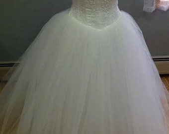 Plus Size Wedding Dress, Beach Wedding, Strapless Wedding Dress, Size 16, Wedding Dress with Train, Princess Wedding Dress, Wedding Gown